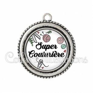 Pendentif résine Super couturière (091BLA01)