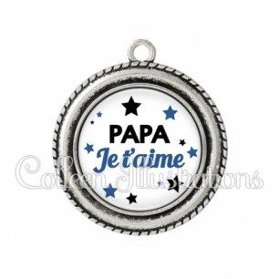 Pendentif résine Papa je t'aime (092BLA01)