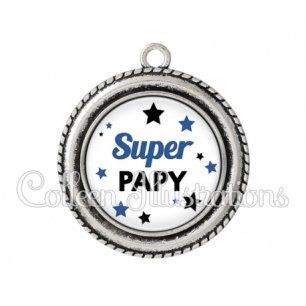 Pendentif résine Super papy (092BLA01)
