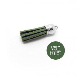 Pompon suédine vert forêt 38mm