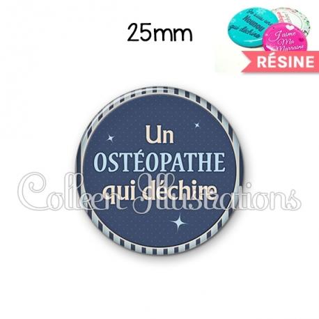 Cabochon en résine epoxy Osthéopathe qui déchire (031BLE07)