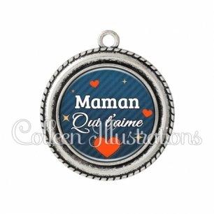 Pendentif résine Maman qui t'aime (103BLE01)