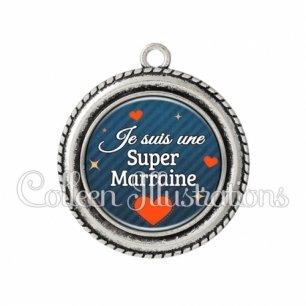 Pendentif résine Super marraine (103BLE01)