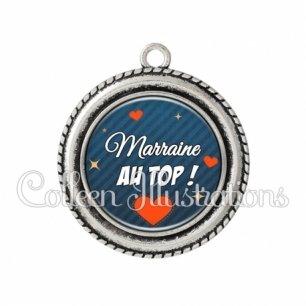 Pendentif résine Marraine au top (103BLE01)