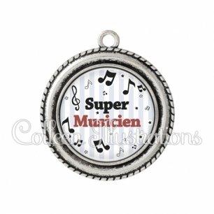 Pendentif résine Super musicien (108GRI01)