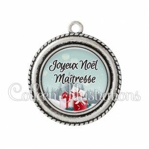 Pendentif résine Joyeux Noël Maîtresse (113BLE01)