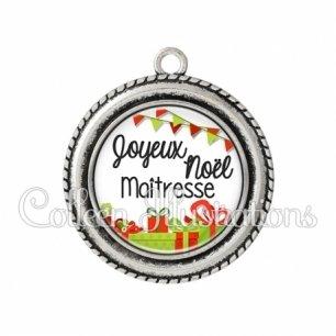Pendentif résine Joyeux Noël Maîtresse (115BLA01)