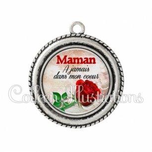 Pendentif résine Maman à jamais dans mon coeur (117MAR01)