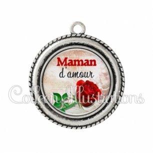 Pendentif résine Maman d'amour (117MAR01)