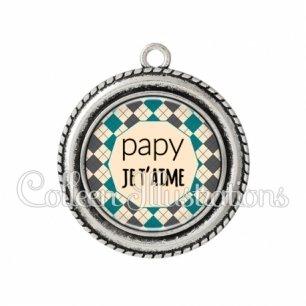 Pendentif résine Papy je t'aime (123MUL01)
