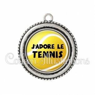 Pendentif résine J'adore le tennis (130JAU01)