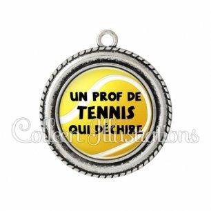 Pendentif résine Prof de tennis qui déchire (130JAU01)