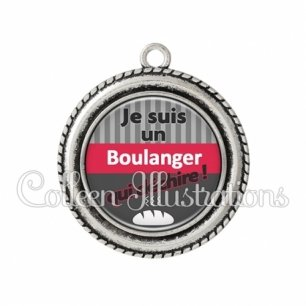 Pendentif résine Boulanger qui déchire (132GRI01)