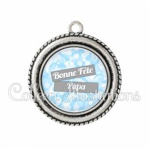 Pendentif résine Bonne fête papa (148BLE01)