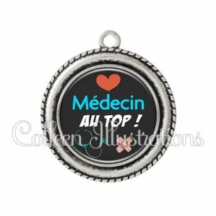 Pendentif résine Médecin au top (155NOI01)
