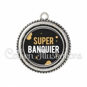 Pendentif résine Super banquier (158GRI01)