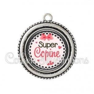 Pendentif résine Super copine (005ROS01)