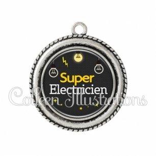 Pendentif résine Super électricien (159GRI01)