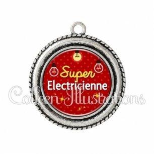 Pendentif résine Super électricienne (159ROU01)