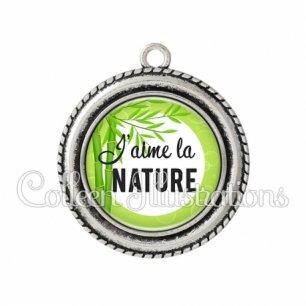Pendentif résine J'aime la nature (165VER01)