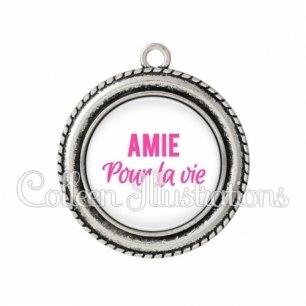 Pendentif résine Amie pour la vie (181BLA01)