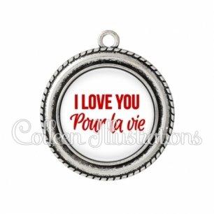 Pendentif résine I love you pour la vie (181BLA02)