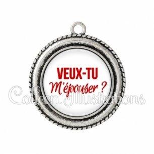 Pendentif résine Veux-tu m'épouser (181BLA02)