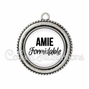 Pendentif résine Amie formidable (181BLA11)