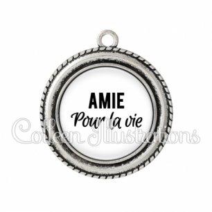 Pendentif résine Amie pour la vie (181BLA11)