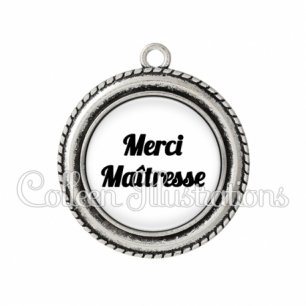 Pendentif résine Merci maîtresse (181BLA11)