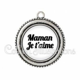 Pendentif résine Maman je t'aime (181BLA11)