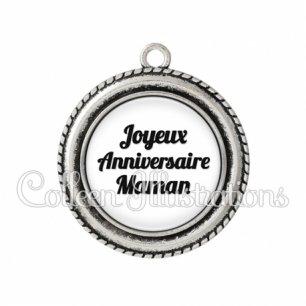 Pendentif résine Joyeux anniversaire maman (181BLA11)