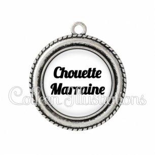 Pendentif résine Chouette marraine (181BLA11)