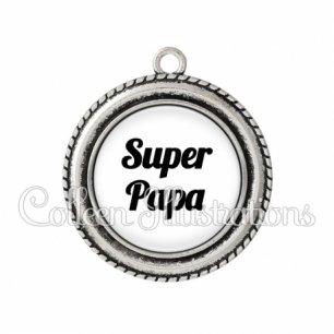 Pendentif résine Super papa (181BLA11)
