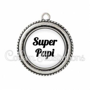 Pendentif résine Super papi (181BLA11)