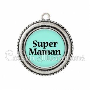 Pendentif résine Super maman (181BLE02)