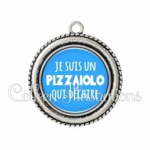 Pendentif résine Je suis un pizzaiolo qui déchire (181BLE08)