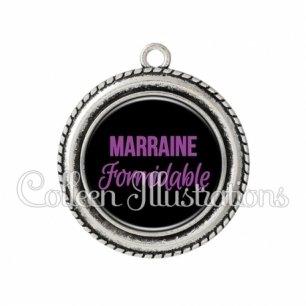 Pendentif résine Marraine formidable (181NOI02)