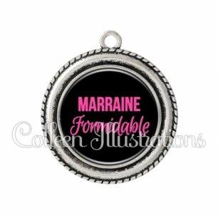 Pendentif résine Marraine formidable (181NOI06)