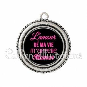 Pendentif résine L'amour de ma vie m'appelle maman (181NOI06)