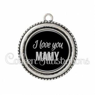 Pendentif résine I love you mamy (181NOI07)