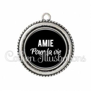 Pendentif résine Amie pour la vie (181NOI09)