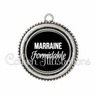 Pendentif résine Marraine formidable (181NOI09)