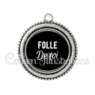 Pendentif résine Folle de toi (181NOI09)