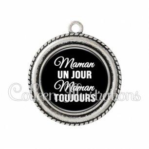 Pendentif résine Maman un jour maman toujours (181NOI09)