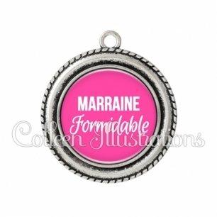 Pendentif résine Marraine formidable (181ROS04)