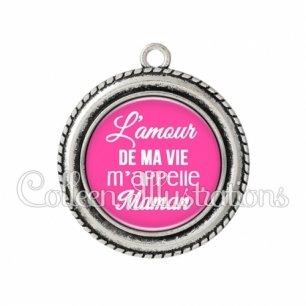 Pendentif résine L'amour de ma vie m'appelle maman (181ROS04)