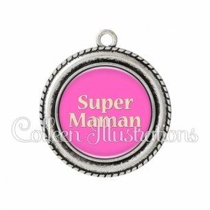Pendentif résine Super maman (181ROS05)