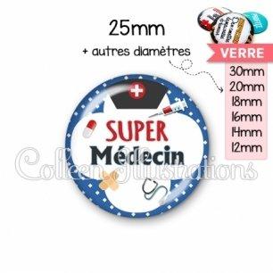 Cabochon en verre Super médecin (002BLE01)