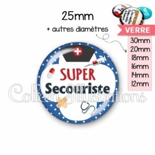 Cabochon en verre Super secouriste (002BLE01)